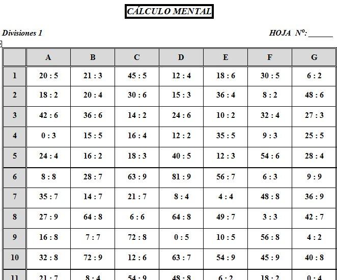 Las tablas de divisiones for Table de division de 99