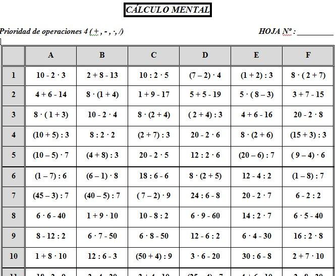 TABLAS DE CÁLCULO DEL BLOQUE II: NÚMEROS ENTEROS